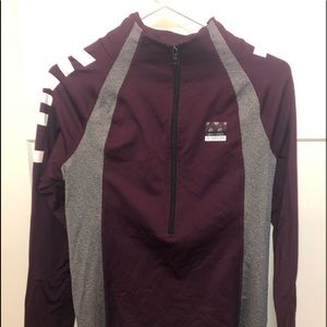 Maroon and Gray Quarter Zip from Pink